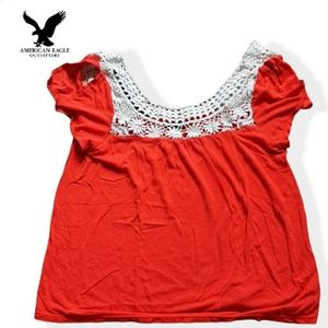 American Eagle red and white lace top